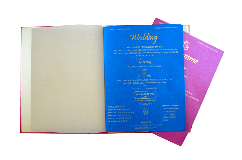 Pink Satin Cloth Wedding Card REL 898 Top Inside View