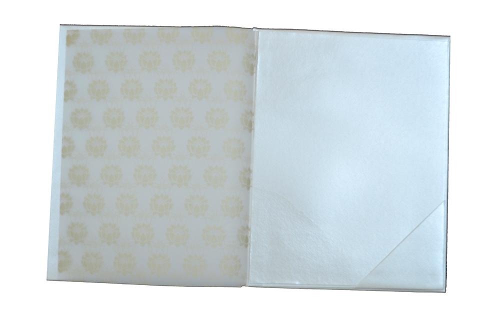 Padded Ham Pattern or Keri Shaped Laser Wedding Card RN 1844 Top Inside View