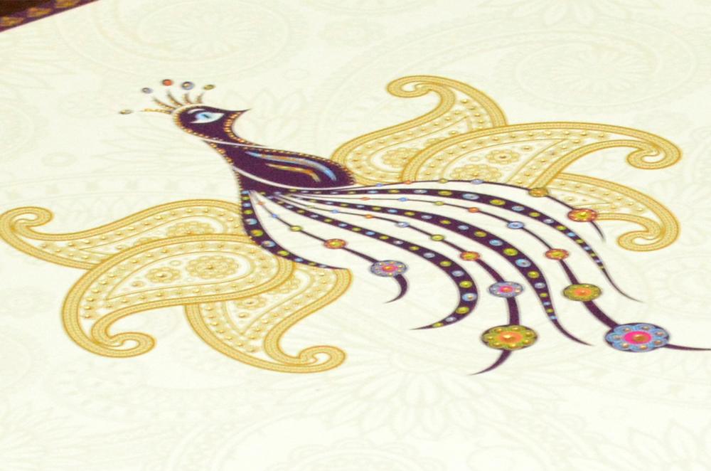 Peacock Theme Wedding Card RN 1847 Zoom View