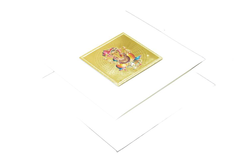 Hindu Wedding Card with Golden Sticker RN 1920 CREAM