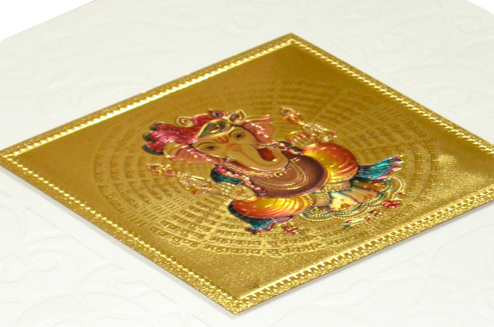 Hindu Wedding Card with Golden Sticker RN 1920 CREAM Zoom View