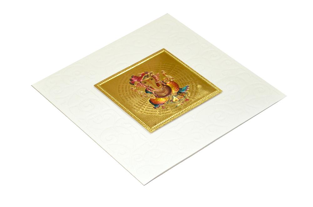 Hindu Wedding Card with Golden Sticker RN 1920 CREAM Card