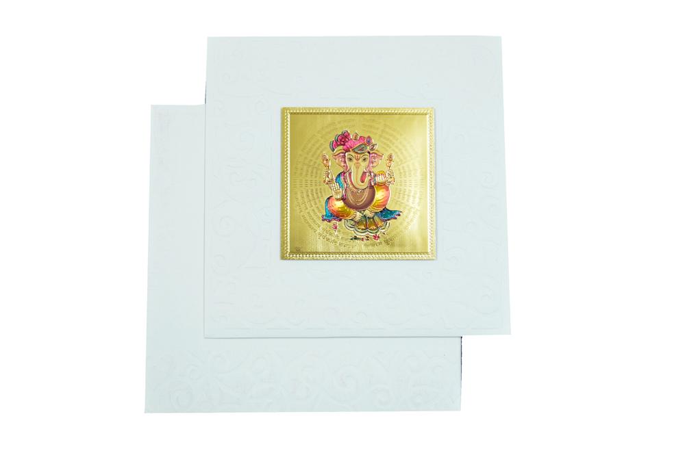 Hindu Wedding Card with Golden Sticker RN 1920 CREAM Top View