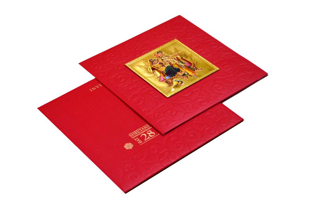Hindu Wedding Card with Golden Sticker RN 1920 RED