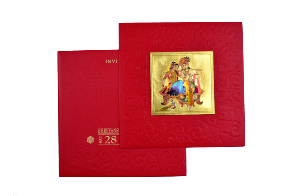 Hindu Wedding Card with Golden Sticker RN 1920 RED Top View