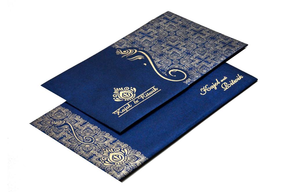 Blue Handmade Paper Hindu Wedding Card S 9035