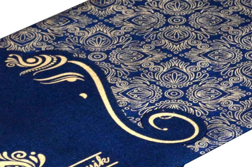 Blue Handmade Paper Hindu Wedding Card S 9035 Zoom View