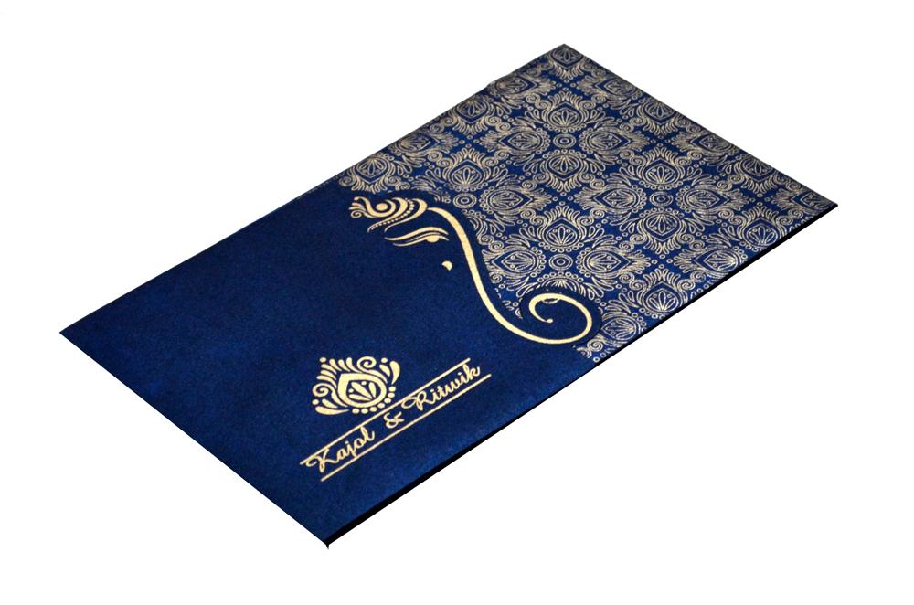 Blue Handmade Paper Hindu Wedding Card S 9035 Card