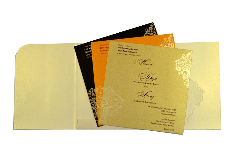 Designer Wedding Card S 9062 Top Inside View