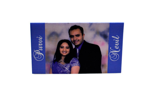 Couple Photo Table Card Top Front View