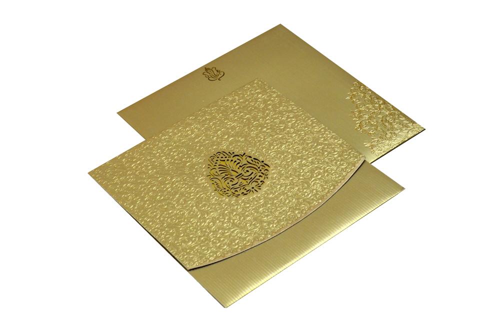 Golden Laser Cut Designer Wedding Card CD 714