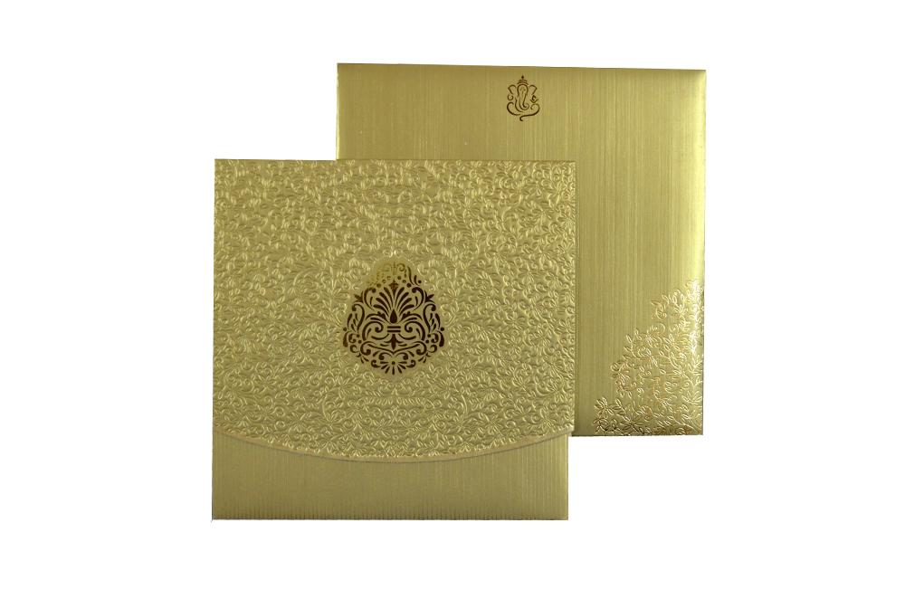 Golden Laser Cut Designer Wedding Card CD 714 Top View