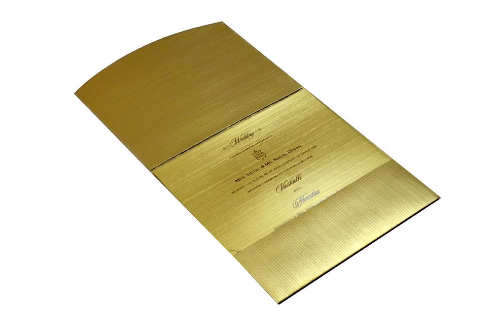 Golden Laser Cut Designer Wedding Card CD 714 Inside View
