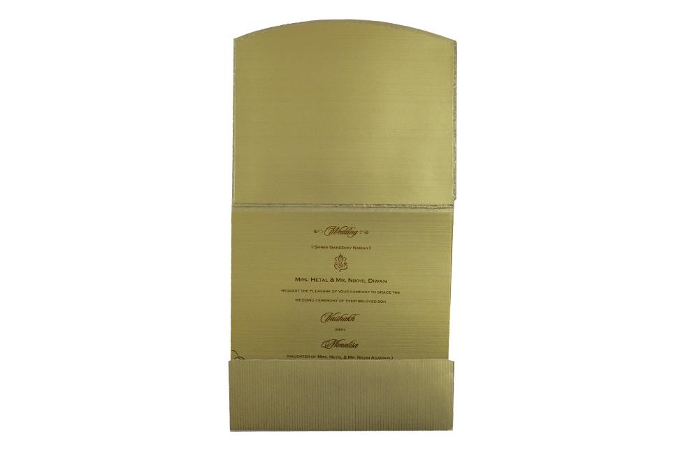 Golden Laser Cut Designer Wedding Card CD 714 Top Inside View