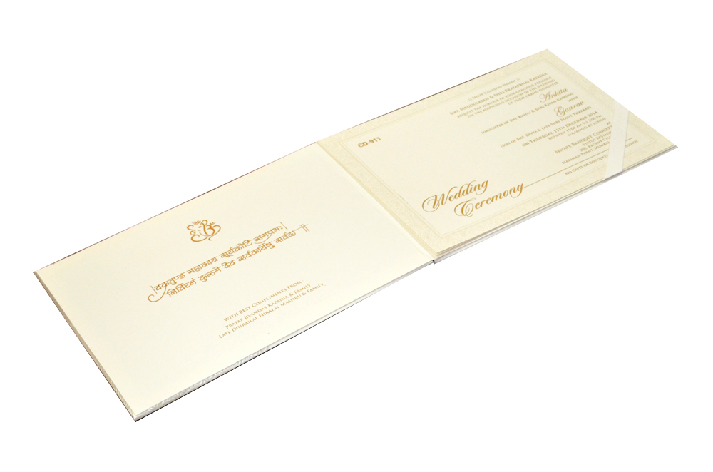 Padded Hindu Wedding Card CD 911 Inside View
