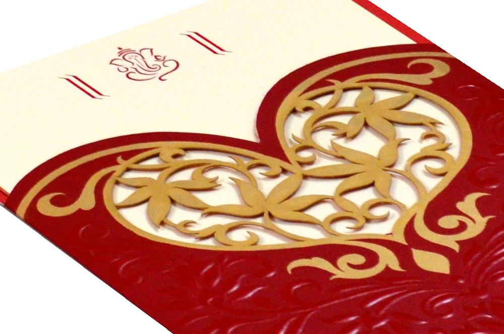 Designer Heart Shaped Laser Wedding Card CD 924 Zoom View