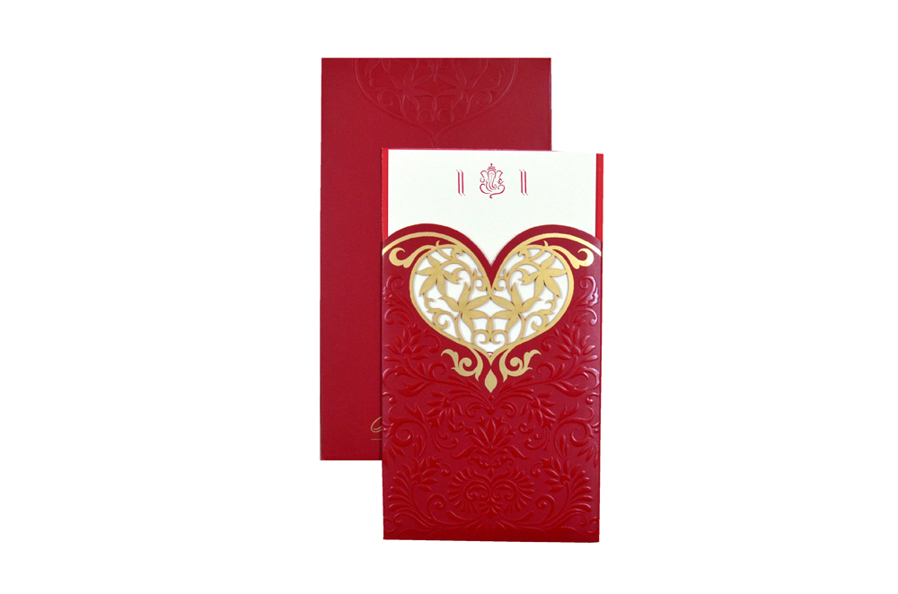 Designer Heart Shaped Laser Wedding Card CD 924 Top View