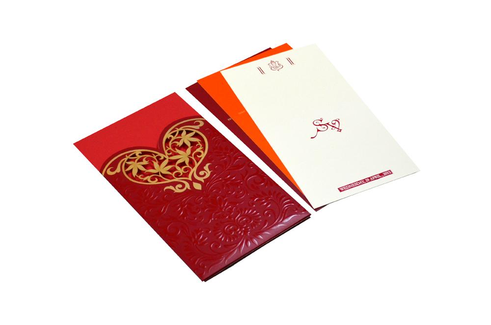 Designer Heart Shaped Laser Wedding Card CD 924 Inside View