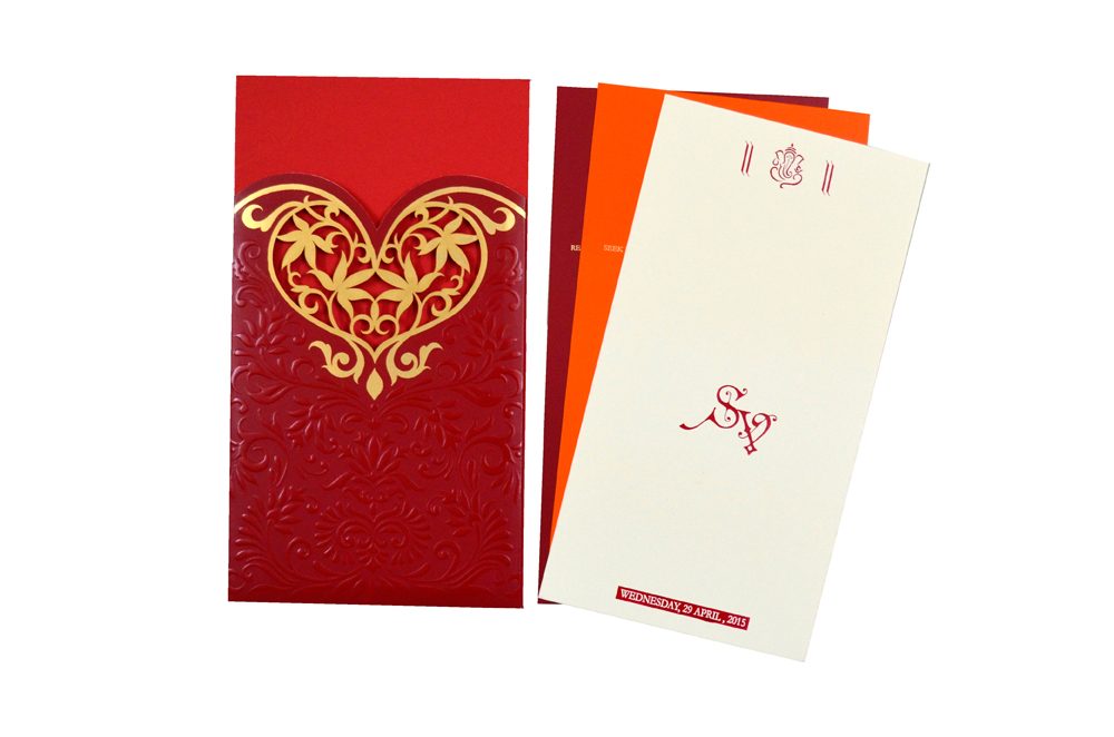 Designer Heart Shaped Laser Wedding Card CD 924 Top Inside View
