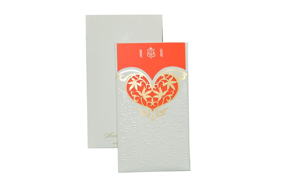 Designer Heart Shaped Laser Wedding Card CD 925 Top View