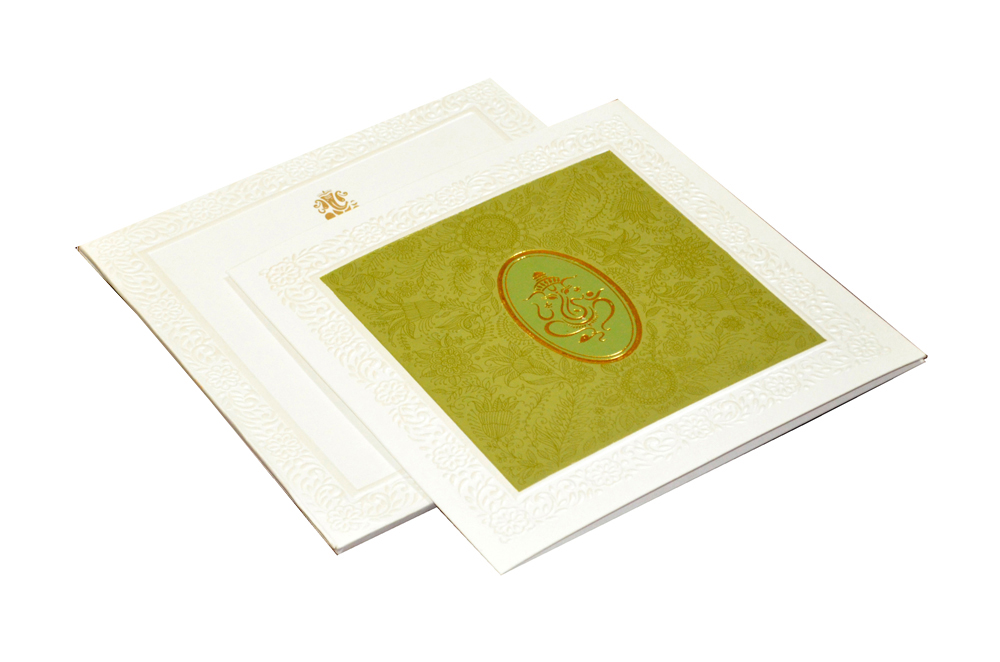 Green Hindu Wedding Card CD 926
