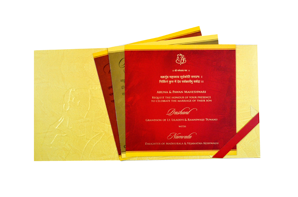 Hindu Wedding Card CD 950 Top Inside View