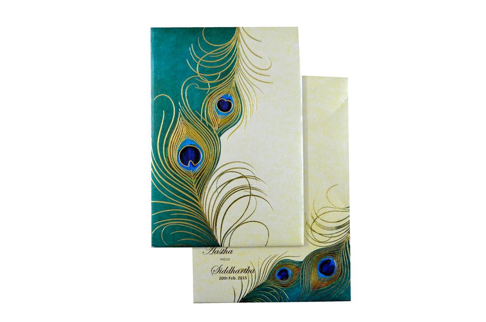 Designer Peacock Theme Wedding Card MCC 5549 Top View
