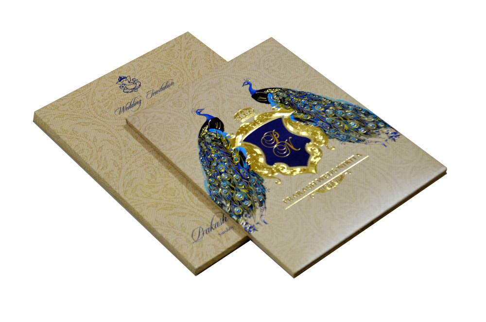 Peacock Theme Padded Wedding Card MCC 6616