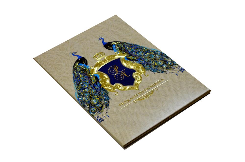 Peacock Theme Padded Wedding Card MCC 6616 Card