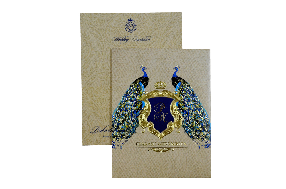 Peacock Theme Padded Wedding Card MCC 6616 Top View