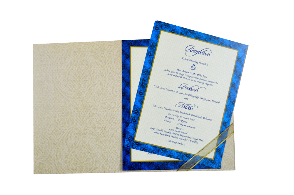 Peacock Theme Padded Wedding Card MCC 6616 Top Inside View