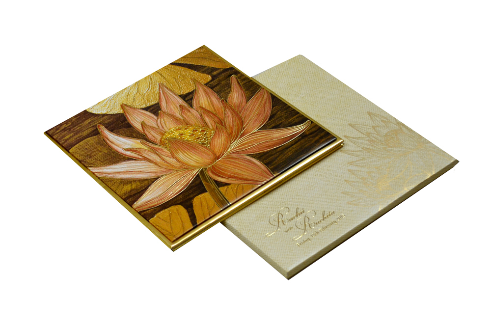 Lotus Theme Padded Wedding Card MCC 6622