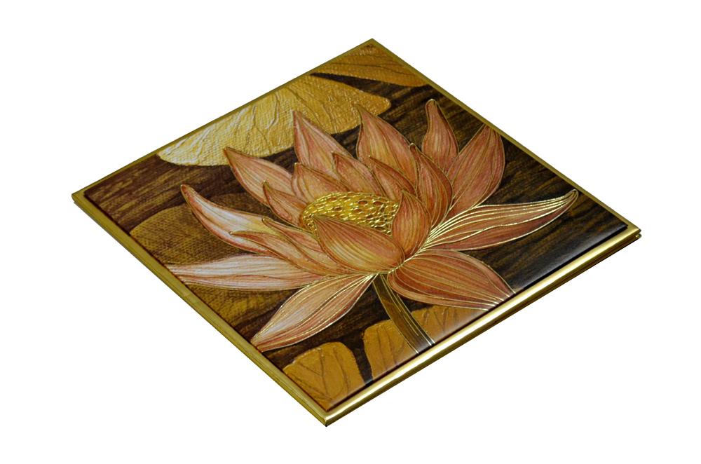 Lotus Theme Padded Wedding Card MCC 6622 Card