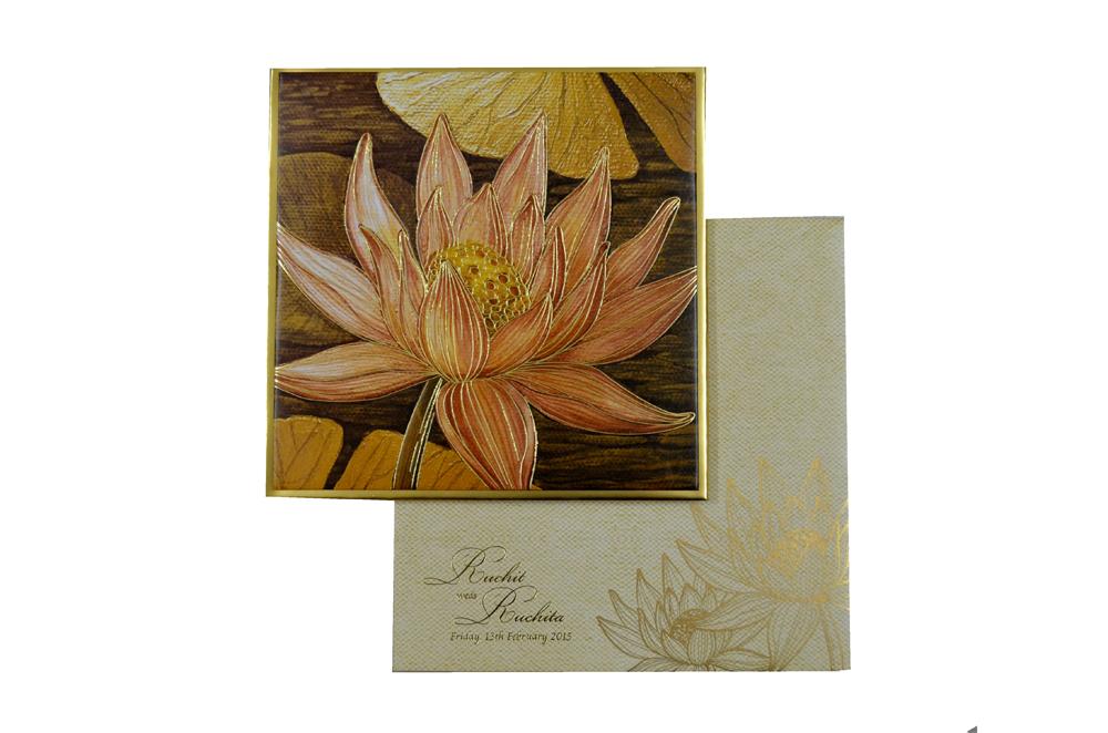 Lotus Theme Padded Wedding Card MCC 6622 Top View