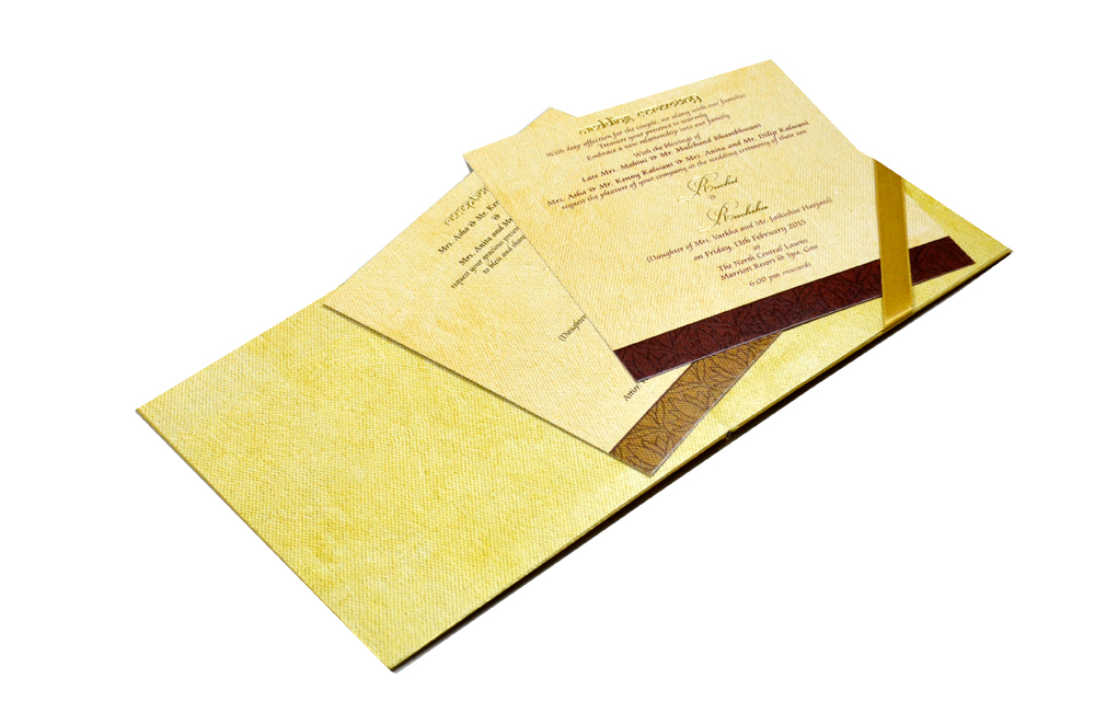 Lotus Theme Padded Wedding Card MCC 6622 Inside View