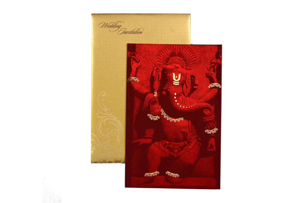Ganesh Theme Wedding Card MCC 6627 Top View