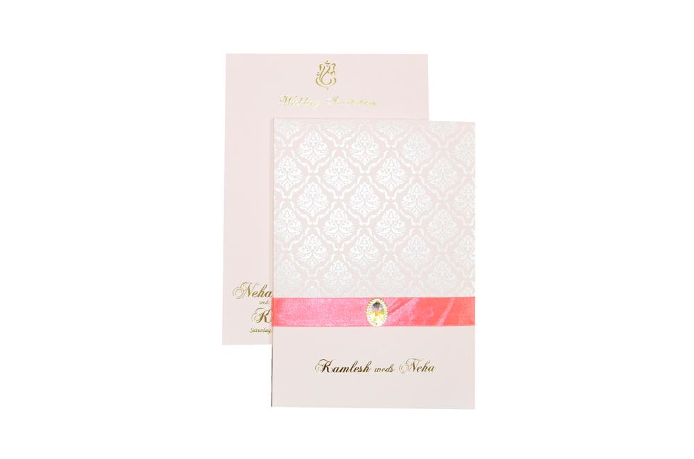 Pink Designer Wedding Card MCC 6628 Top View