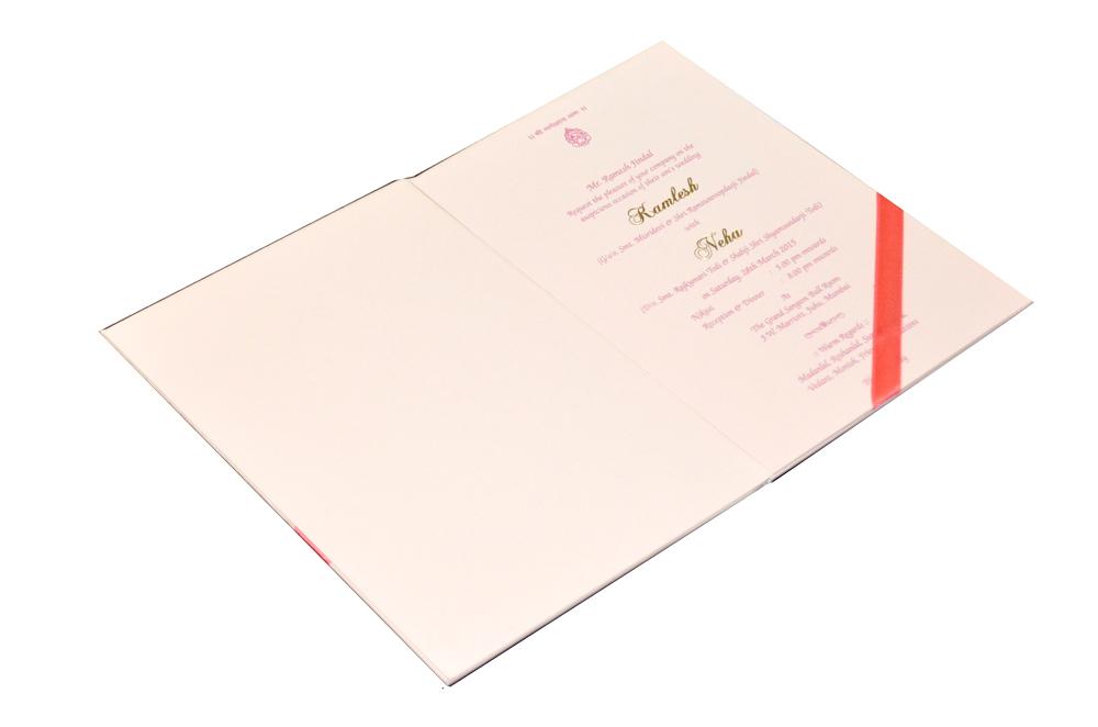 Pink Designer Wedding Card MCC 6628 Inside View