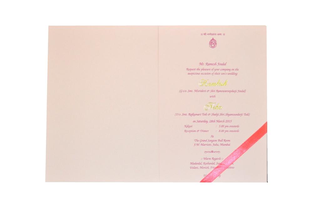 Pink Designer Wedding Card MCC 6628 Top Inside View