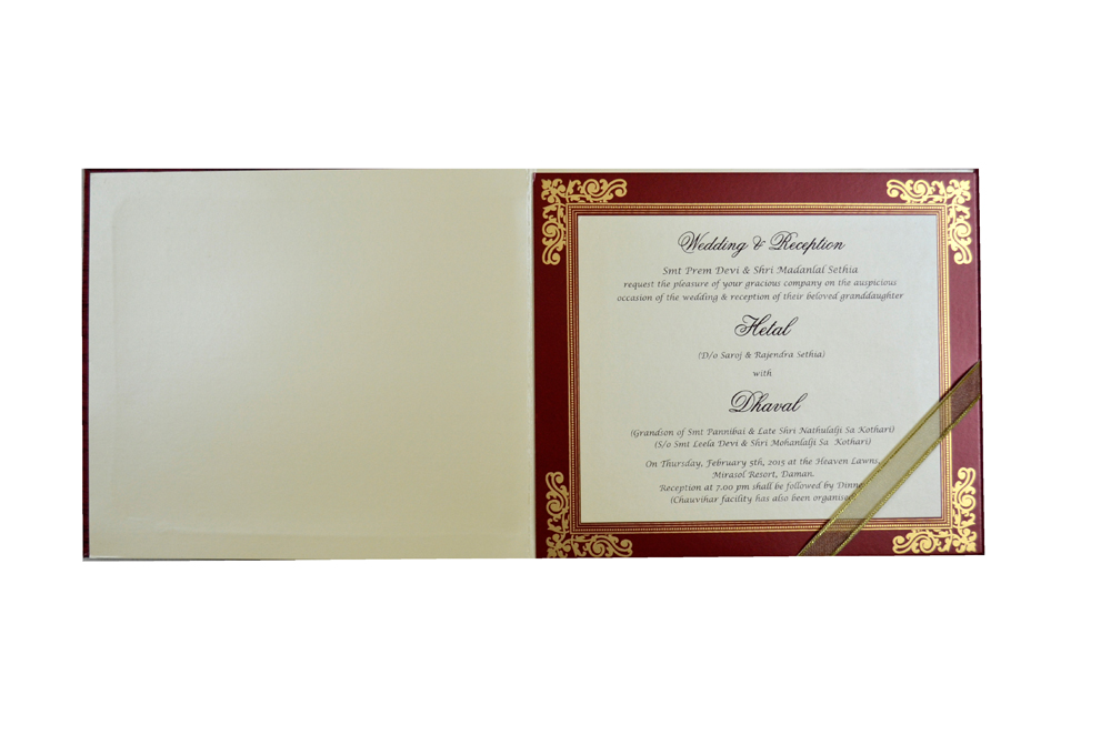 Laser Wedding Card MCC 6629 Top Inside View