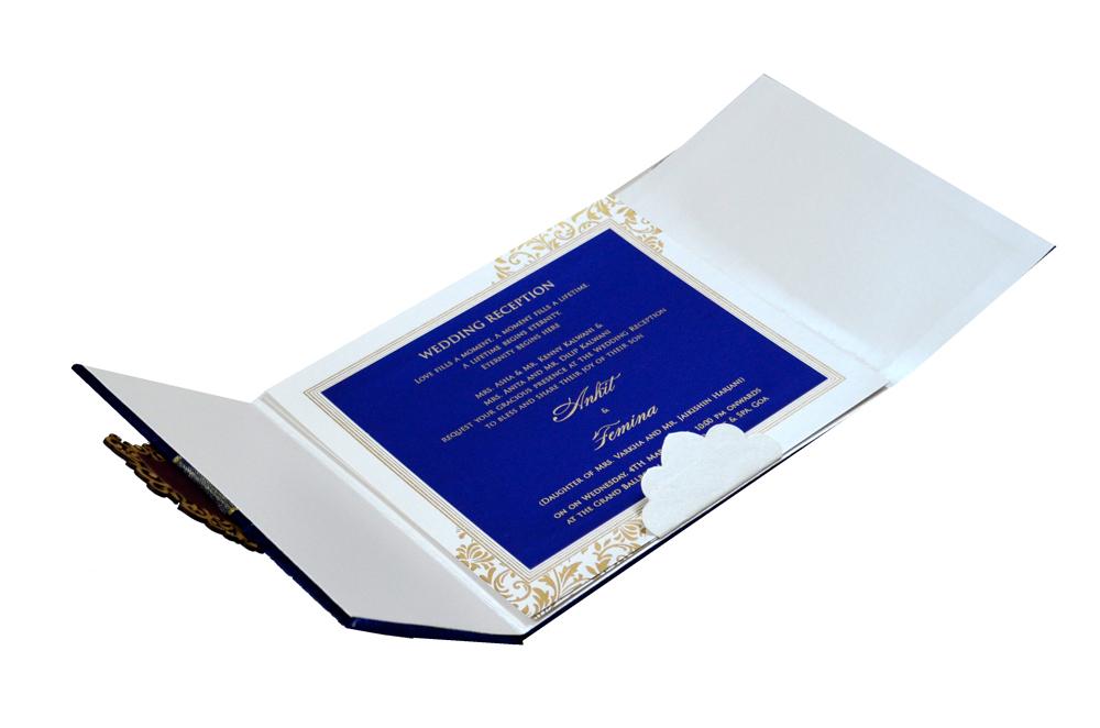 Designer Velvet Wedding Card MCC 6634 Inside View