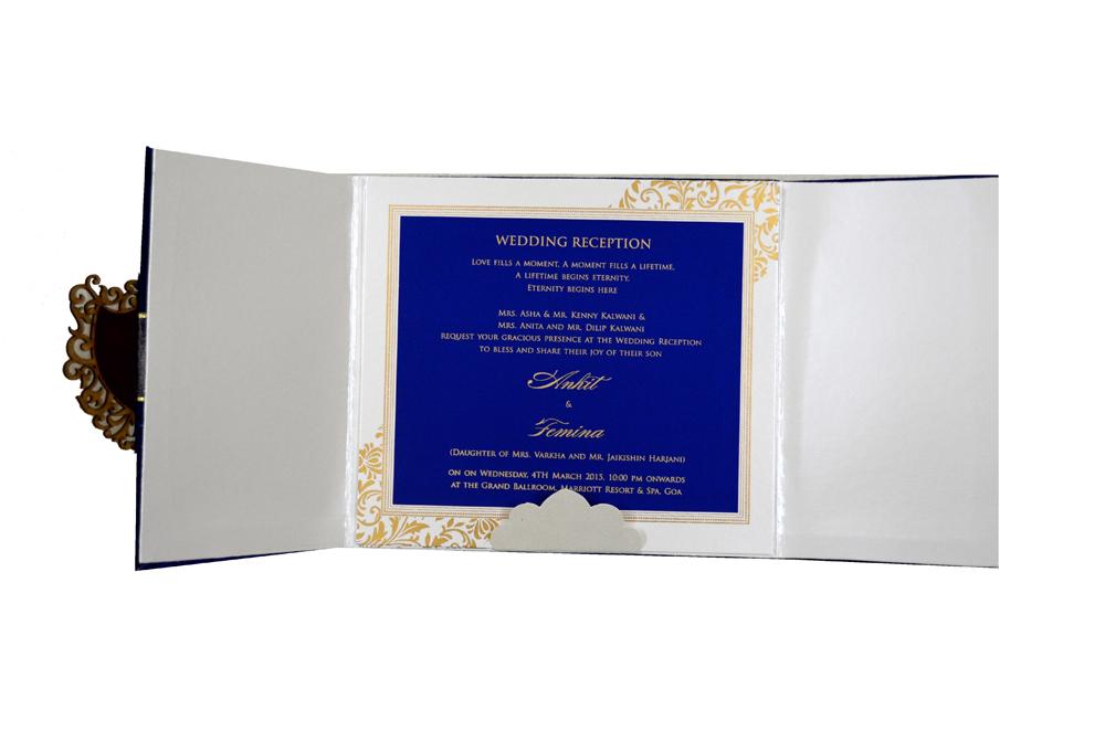 Designer Velvet Wedding Card MCC 6634 Top Inside View