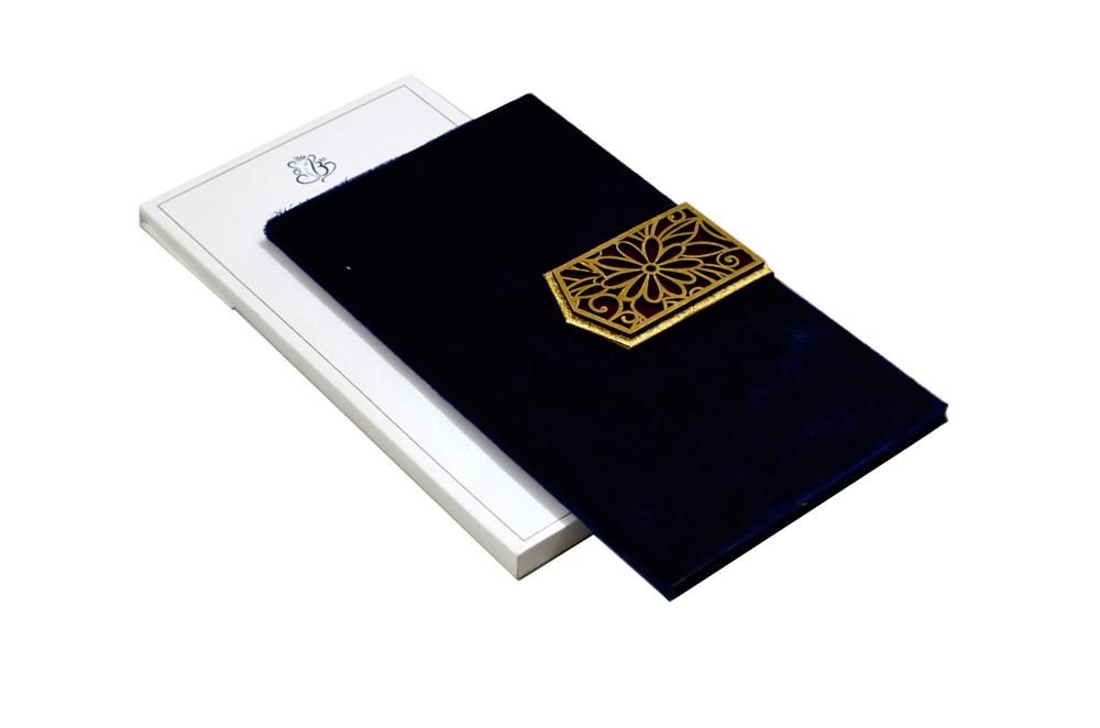 Blue Velvet Laser Wedding Card MCC 6637