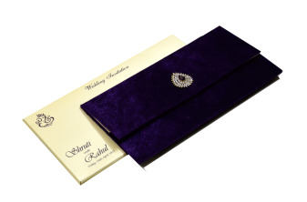 Purple Velvet Jewelled Wedding Card MCC 6647