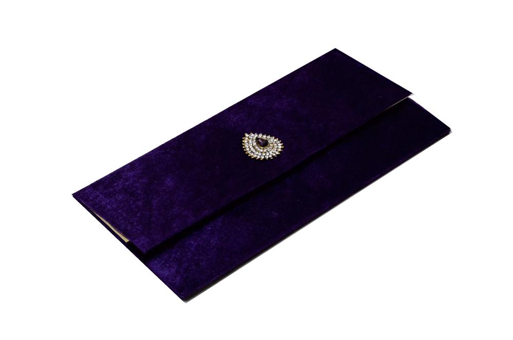 Purple Velvet Jewelled Wedding Card MCC 6647 Card