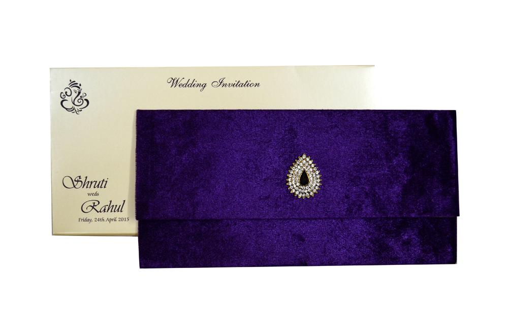 Purple Velvet Jewelled Wedding Card MCC 6647 Top View