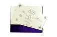 Purple Velvet Jewelled Wedding Card MCC 6647 Top Inside View