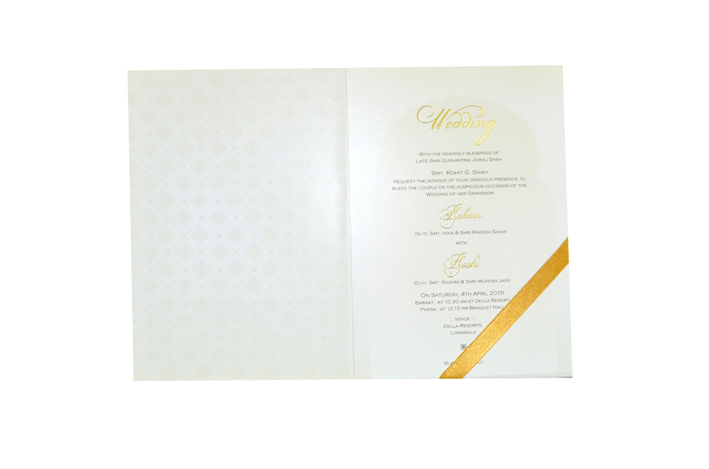 Padded Hindu Wedding Card MCC 6651 Top Inside View