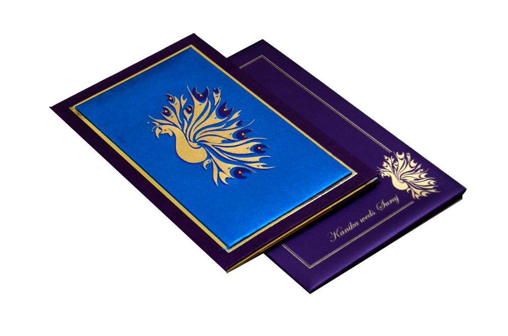 Peacock Theme Padded Wedding Card MCC 6661