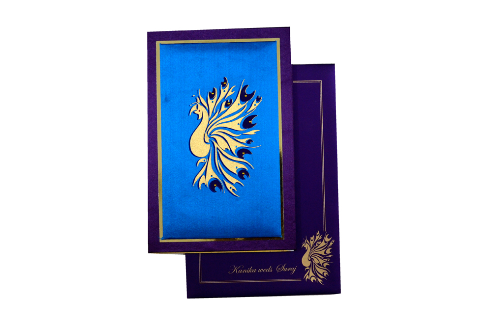 Peacock Theme Padded Wedding Card MCC 6661 Top View